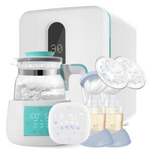 新贝双边电动吸奶器风冷调奶器紫外线消毒柜高端喂养套装 1085元