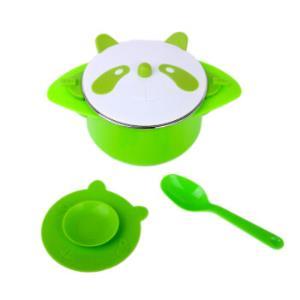 9i9久爱久儿童餐具宝宝注水保温吸盘碗婴儿不锈钢餐具套装绿色M919*2件24.9元(合12.45元/件)