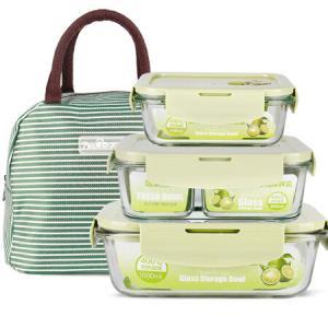 德玛斯耐热玻璃饭盒微波炉专用保鲜盒收纳带盖玻璃碗三件套410ml+分隔800ml+长1000ml北欧绿送包*3件    83.79元(合27.93元/件)