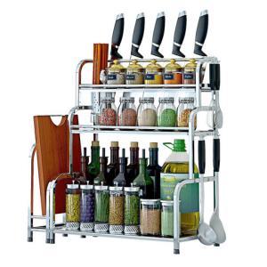 慕容世家厨房置物架不锈钢落地调味调料架用品刀架多层油盐酱醋收纳储物架    18元