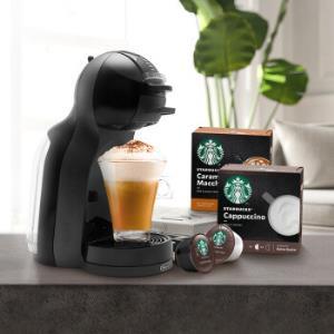 星巴克(Starbucks)新品尝鲜咖啡超值入门套组(含咖啡机MINIME黑色×1+星巴克花式胶囊×2)695元