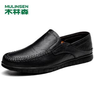 木林森(MULINSEN)时尚男鞋休闲鞋简约舒适套脚商务休闲皮鞋豆豆鞋男黑色40码802863.43元
