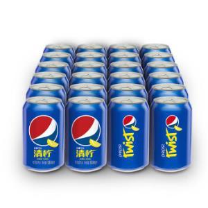百事可乐Pepsi清柠柠檬味汽水碳酸饮料330ml*24罐整箱装新老包装随机发货 39.9元