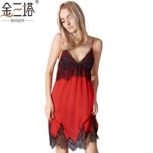 金三塔睡衣女春夏新品真丝撞色吊带裙睡衣YSF8B310大红1700L*2件479.84元(合239.92元/件)