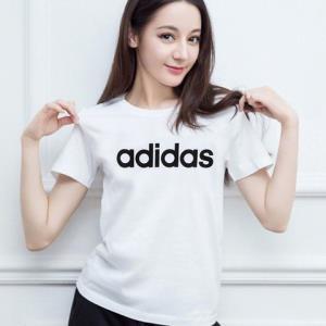 阿迪达斯Adidas黑白大LOGO热巴同款男女情侣经典透气长青经典圆领休闲运动T恤短袖*5件 265元(合53元/件)