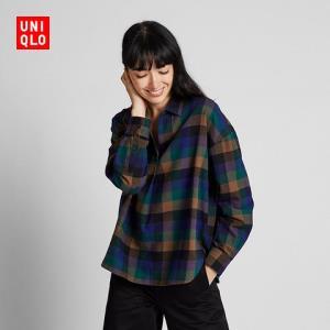 12日0点、双12预告:UNIQLO优衣库421714法兰绒格子半开领上衣 低至53.1元