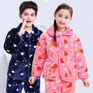 儿童夹棉睡衣套装女童三层加绒加厚法兰绒家居服男孩冬季保暖棉袄49.9元(需用券)