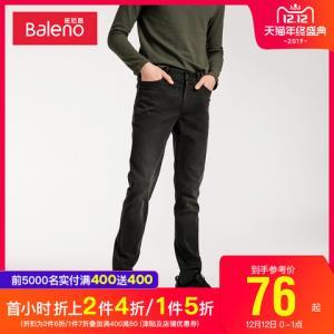 班尼路牛仔裤男2019年秋冬新款黑色简约弹力直筒修身小脚裤 75.96元