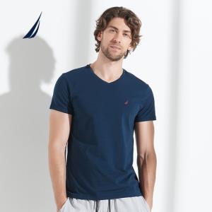 诺帝卡/Nautica2019新款精梳棉纯色T恤男士修身简约短袖上衣打底衫*2件 159元(合79.5元/件)