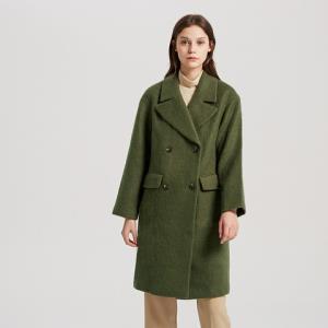 折|羊毛混纺MECITY外套女气质双排扣英伦风复古毛呢大衣中长款 119元