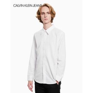CKJEANS2019秋冬新款男装翻领长袖衬衫J313413112-白色L    1043元
