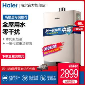 Haier/海尔JSQ31-16WH3燃气热水器家用智能恒温16升天然气 2299元