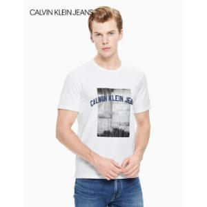 CKJEANS2019秋冬新款男装简约休闲宽松圆领印花短袖T恤J313506112-白色XL    365元