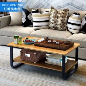 幸阁加厚环保简易抽屉钢木茶几沙发边桌小圆桌小茶几角几边几_100cm红叶枫木色双层 101元