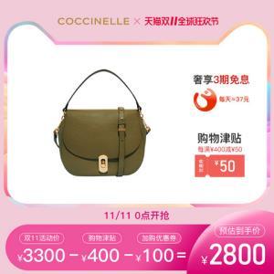 19新品COCCINELLE/可奇奈尔ZANIAH斜挎包女士简约牛皮手提单肩包3150元