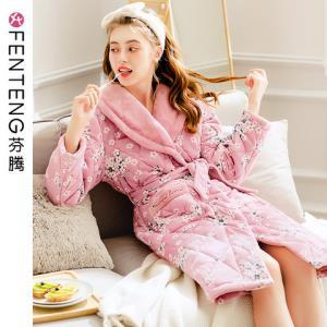 芬腾冬季新款法兰绒三层夹棉睡袍女可爱印花加厚保暖可外穿家居服*3件624.96元(合208.32元/件)