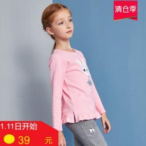 ABCKIDS童装秋季女童圆领长袖T恤学生薄绒休闲上衣体恤糖果粉120cm39元