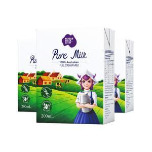 尼平河澳大利亚进口全脂高钙纯牛奶200ml*24盒整箱装早餐奶*4件