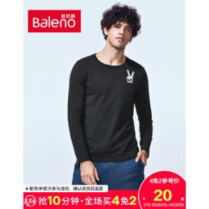 Baleno/班尼路秋冬纯棉休闲印花T恤男长袖青年圆领套头衫男潮D9D黑色S20元