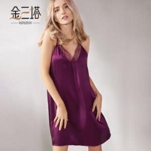 金三塔睡衣女100%桑蚕丝性感美背真丝吊带裙YSF8B315葡萄紫6216M*3件629.79元(合209.93元/件)