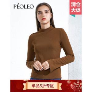 Peoleo飘蕾焦糖色长袖T恤女半高领上衣修身显瘦体恤49.5元