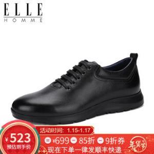 ELLEHOMME男士休闲皮鞋真皮系带新款运动油蜡男皮鞋黑色HM17397216040524.25元
