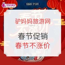 驴妈妈春节促销!品牌酒店5折起 春节不涨价!最高立减180