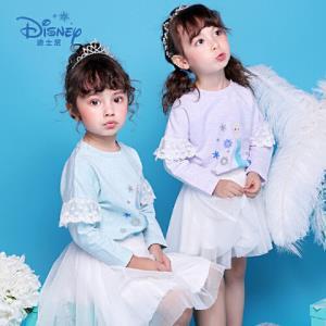 迪士尼冰雪奇缘童装女童秋装2018秋冬新品艾莎印花卫衣 41.85元