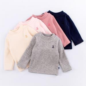 Oissie奥伊西1-7岁男女宝宝圆领长袖打底衫儿童秋季长袖薄绒套头上衣    28.61元