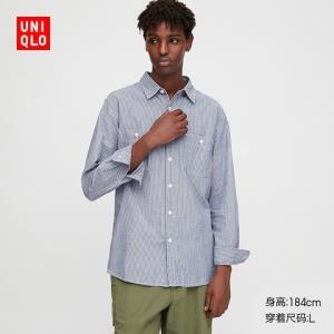 男装条纹工装衬衫(水洗产品)(长袖)427078优衣库UNIQLO 149元