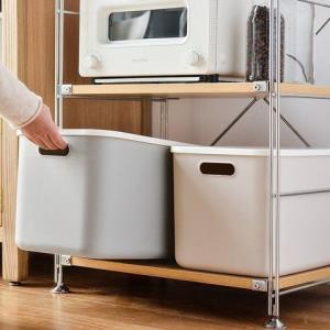 久梨沙塑料收纳箱带盖收纳盒居家整理盒分类储物箱衣物整理箱杂物盒浅灰色大号*3件 54.45元(合18.15元/件)