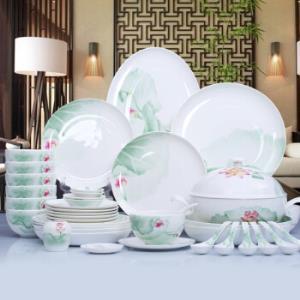 华光国瓷碗碟套装中式家用骨瓷餐具碗碟套装荷满庭香正品现货30头礼盒装    860元