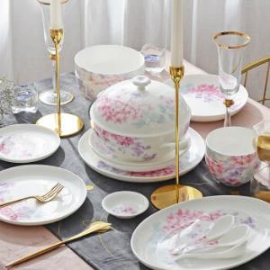 华光国瓷骨瓷餐具碗碟套装家用中式盘子碗套装高温釉中彩婚礼乔迁送礼红玉含香46头礼盒装 1430元