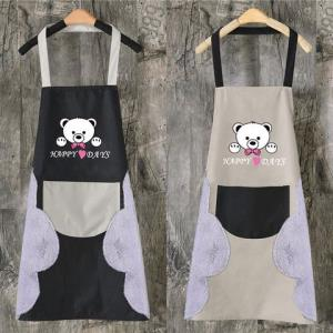 可擦手围裙女罩衣口袋防水油厨房可爱新款工作服成人做饭劳保干活6.9元(需用券)