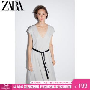 ZARA新款女装配腰带迷笛连衣裙05580628834    59元