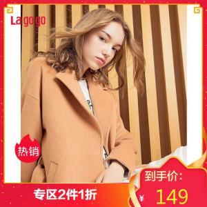 Lagogo冬季中长款显瘦百搭毛呢外套驼色长袖呢子大衣女*2件 29.8元(合14.9元/件)