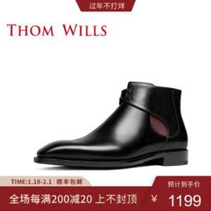 ThomWills切尔西男靴冬季手工固特异真皮男靴英伦高帮复古皮鞋黑色E5817/40码 1199元