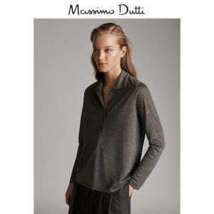 MassimoDutti女装纽扣领女式POLO衫修身长袖上衣06879646814 120元