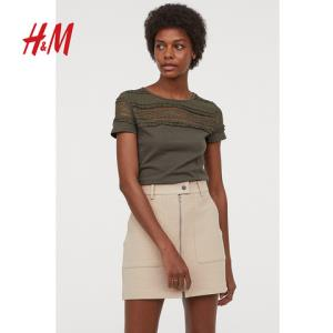 H&MHM0611221女士蕾丝拼接短袖T恤 30元