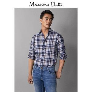 MassimoDutti男装00110077400亚麻修身格纹衬衫男士休闲长袖衬衣 120元包邮