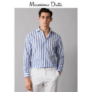 MassimoDutti男装亚麻/棉质条纹修身男士衬衫上衣00133097420 120元