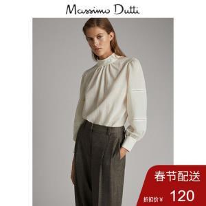 秋冬大促MassimoDutti女装蕾丝镶边蓬袖高领修身衬衫06811515251    120元