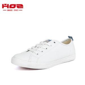 HOZ后街帆布鞋男女情侣款平底低帮板鞋韩版系带休闲鞋白色-男款39 179元