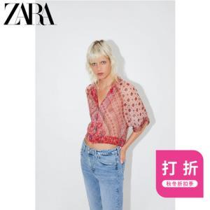 ZARA新款TRF女装印花短款衬衫07778405600 59元