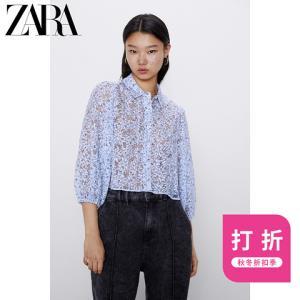 ZARA新款女装花朵印花透明硬纱衬衫04437252400 59元