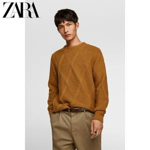 ZARA07998303704男款菱形纹构造式针织衫冬季毛衣 129元
