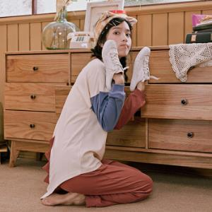 千线艺新款纯棉睡衣女春卡通可爱套头长袖可外穿全棉家居服两件套浅杏M*3件402.3元(合134.1元/件)
