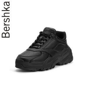 Bershka男鞋2019秋冬厚底休闲运动黑色椰子老爹鞋17246132040199元
