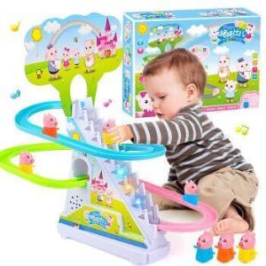 儿童电动小猪爬楼梯玩具男孩女孩灯光音乐旋转轨道车拼装滑滑梯玩具礼盒电池版电动音乐爬梯小猪(中号) 13.9元