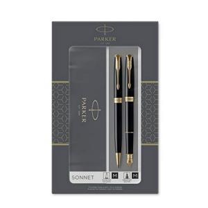 PARKER派克Sonnet卓尔钢笔+圆珠笔纯黑丽雅金夹M尖 435.17元